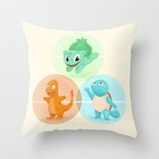 Poké: choose your starter Throw Pillow