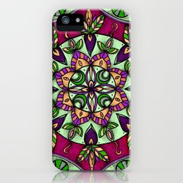 Garden Leaves Mandala iPhone Case