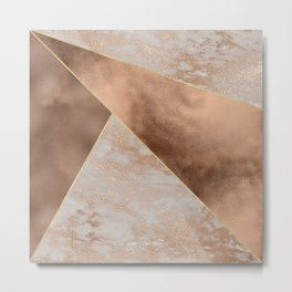 Copper Foil and Blush Rose Gold Marble Triangles Metal Print