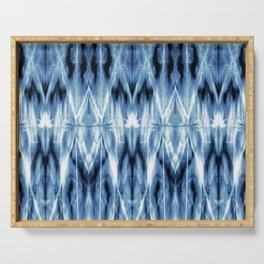 Blue Satin Shibori Argyle Serving Tray