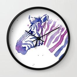 Zebra Watercolor Purple Stripes Animal Wall Clock