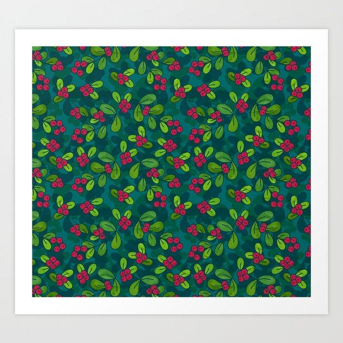 Cranberry Fruit Pattern on Dark Teal Art Print