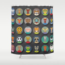 Set of animals faces circle icons set in Trendy Flat Style. zoo Shower Curtain