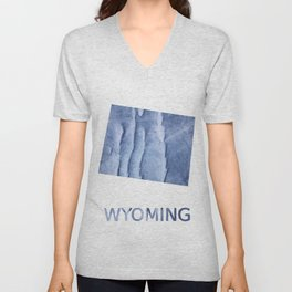 Wyoming map outline Blue watercolor Unisex V-Neck