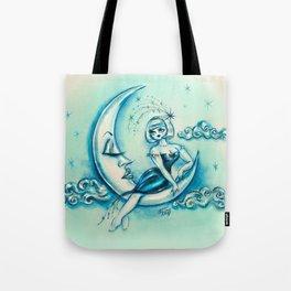 Girl on the Moon Tote Bag