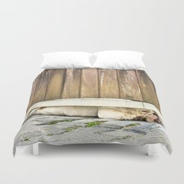 Bored Bulldog And Yard Gate Duvet Cover