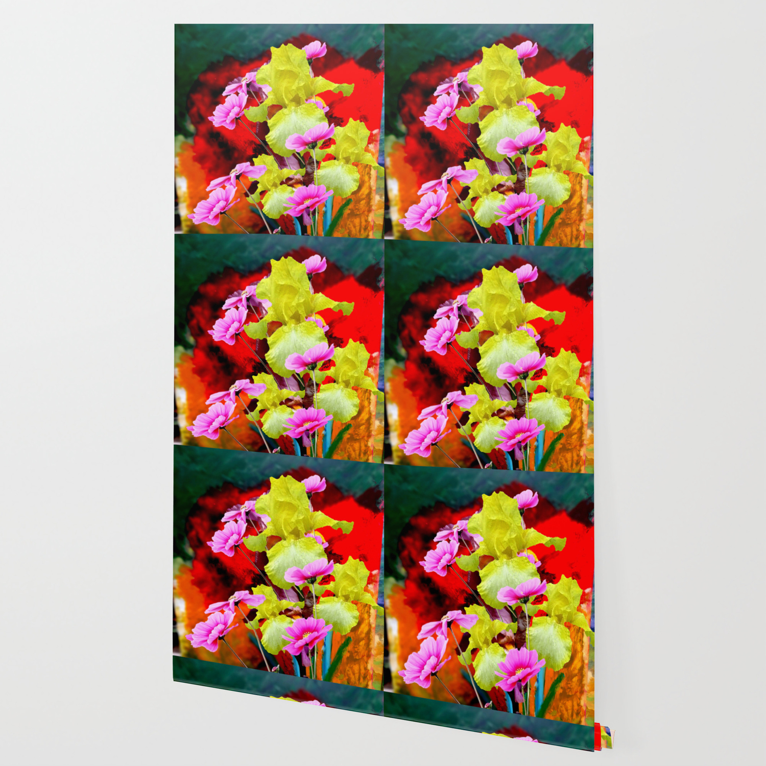 Modern Abstract Yellow Iris Pink Flowers Floral Wallpaper By