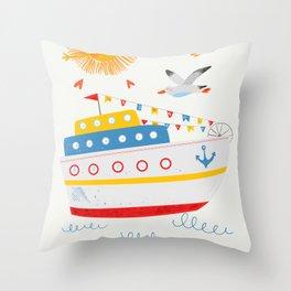 Sailors Sea ships and animals Throw Pillow
