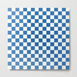 Gingham Azure Strong Blue Checked Pattern Metal Print