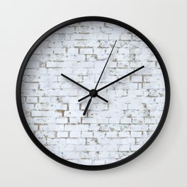 Vintage White Brick Wall Wall Clock