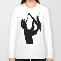 saxophone Long Sleeve T-shirts featuring The Saxophone Man   by Queenmissy