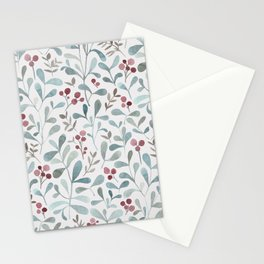 Winter flora - watercolor red berries and mistletoe leaves Stationery Cards