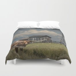 Longhorn Steer in a Prairie pasture by 1880 Town with Windmill and Old Gray Wooden Barn Duvet Cover