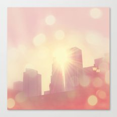 City of Lights. downtown Los Angeles skyline photograph Canvas Print