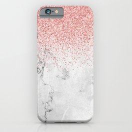Rose Gold Glitter and white marmble iPhone Case