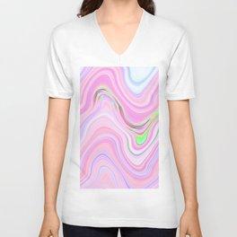 Pastel Pink & Violet Lava Marble Unisex V-Neck