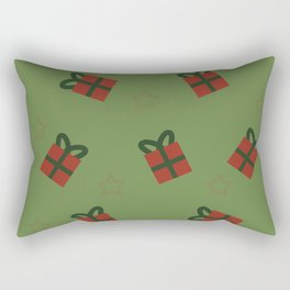 Gifts and stars - green and red Rectangular Pillow