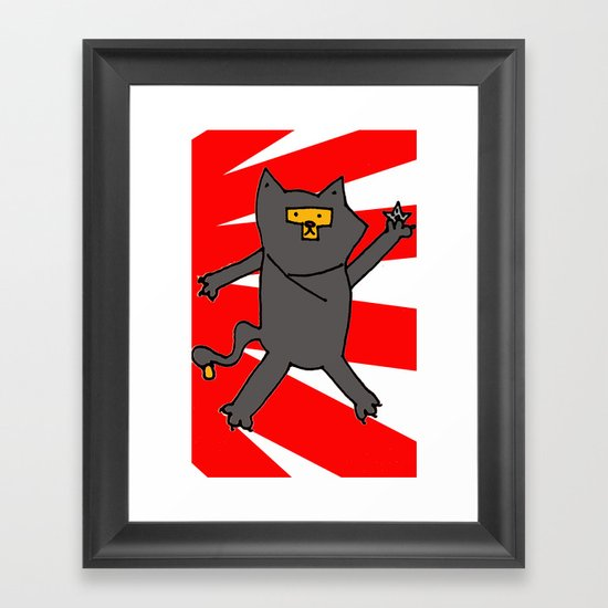Ninja Kitty Framed Art Print