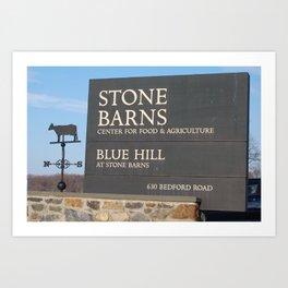 Stone Barns Sign, NY Art Print