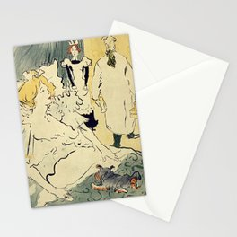 Woman and little dog in bed - TOULOUSE-LAUTREC 1896 Stationery Cards