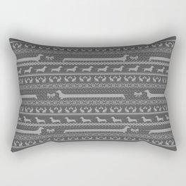 Ugly christmas sweater | Smooth dachshund grey Rectangular Pillow