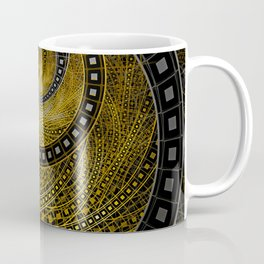 Golden Film Strips in Noir Nested Fractal Circles Coffee Mug