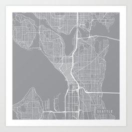 Seattle Map, Washington USA - Pewter Art Print