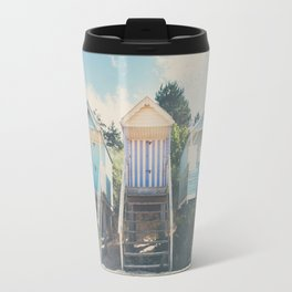 beach huts photograph Travel Mug