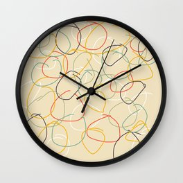 Bright Classic Freehand Abstract Minimal Retro Style Crooked Circles #1 Wall Clock