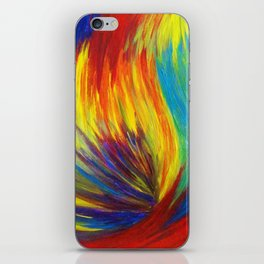 RAINBOW EXPLOSION - Vibrant Smile Happy Colorful Red Bright Blue Sunshine Yellow Abstract Painting  iPhone Skin