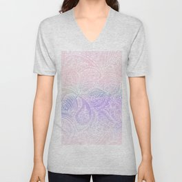 Hand painted white blush pink lavender watercolor floral Unisex V-Neck