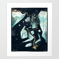 Climbing the Crevasse Art Print
