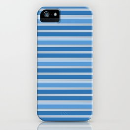 Blue and White Horizontal Striped Pattern iPhone Case