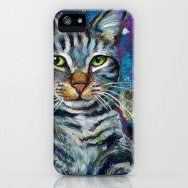 Galactic Cat In Space Painting by Robert Phelps iPhone Case
