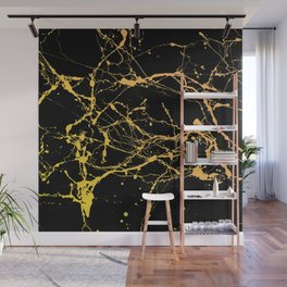 24-Karat Polished Gold Streaks on Black Marble Wall Mural