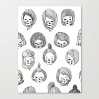 girls Canvas Prints featuring Girls by Young Ju