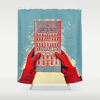 budapest hotel Shower Curtains featuring GRAND BUDAPEST HOTEL COLOR by Oleol