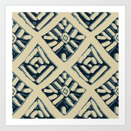 Batik Mudcloth Navy, Tan Art Print