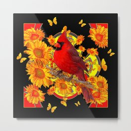 BUTTERFLIES  RED CARDINAL SUNFLOWERS BLACK ART Metal Print