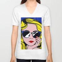 lichtenstein V-neck T-shirts featuring Pop Art Glamour Girl by Alli Vanes