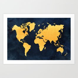 Map of the World - Inverted Gold Art Print
