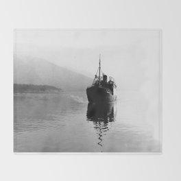 Fjord ship Throw Blanket
