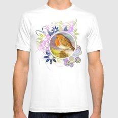 Two birds White Mens Fitted Tee MEDIUM