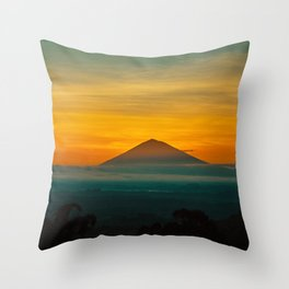 Mountain Volcano In The Distant Green Yellow Orange Sunset Hues Landscape Photography Throw Pillow
