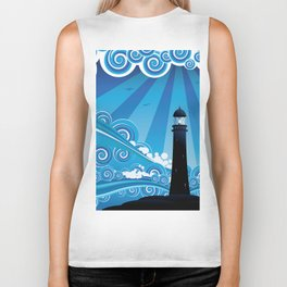 Blue stylized sea with big waves and lighthouse Biker Tank
