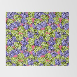 Pineapples on Pink Throw Blanket