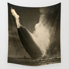 The Hindenburg hits the ground in flames in Lakehurst, N.J. Wall Tapestry