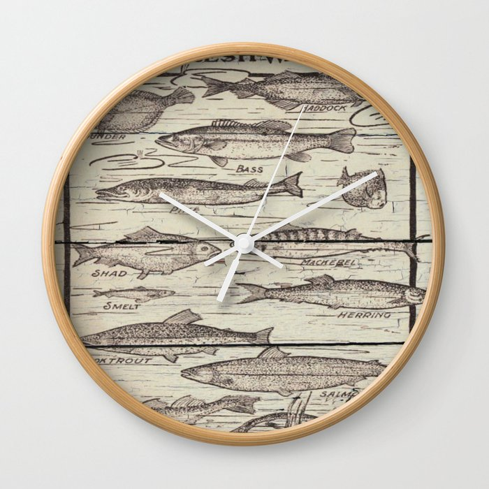Father S Day Fisherman Gifts Whitewashed Wood Lakehouse Freshwater Fish Wall Clock By Chicelegantboutique