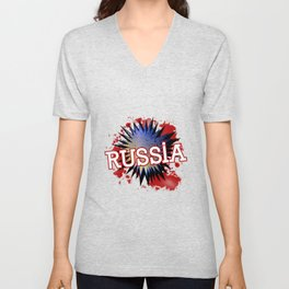 Russia In Red White And Blue Cartoon Exclamation Unisex V-Neck