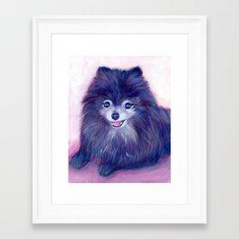Purple Pomeranian Framed Art Print